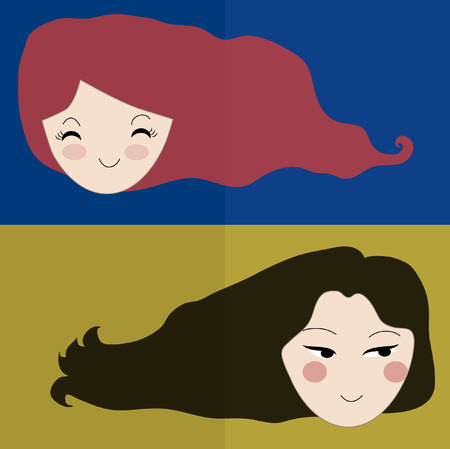 long straight hair: Vector beautiful two women with long red and brown straight hair. Fashion vintage illustration with concept of beauty and hairdressing. Stylized graphic color background with space for text.