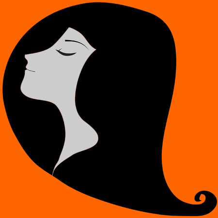 long black hair: Girl with long black hair orange background