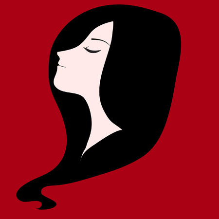 long black hair: Girl with long black hair red background