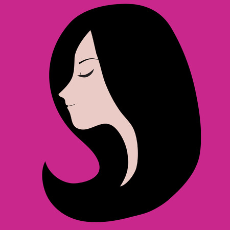 long black hair: Girl with long black hair pink background