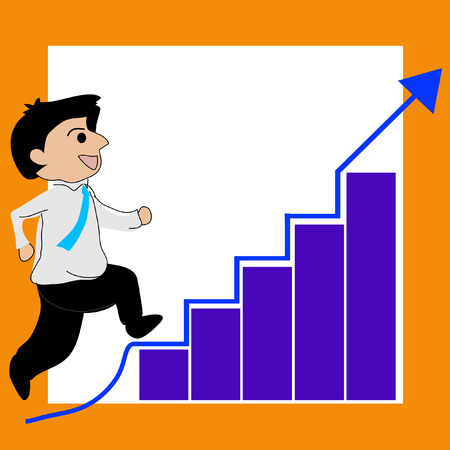 increases: businessman running on the stairs, arrow level increases. vector