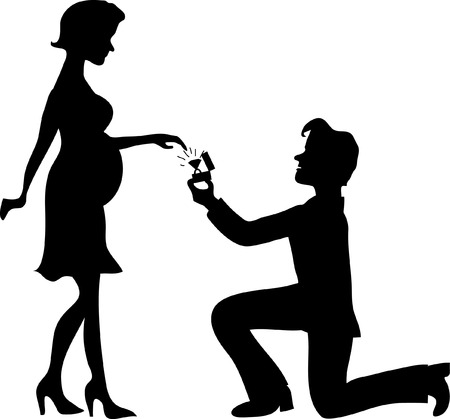 him: Man stands on one knee and offers the pregnant woman to marry him