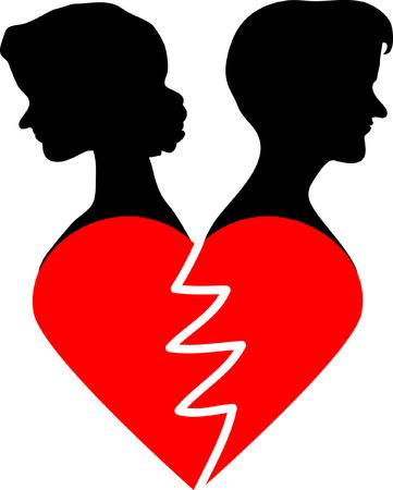 corazon roto: Tarjeta del d�a de San Valent�n con la mujer, el hombre y el coraz�n roto