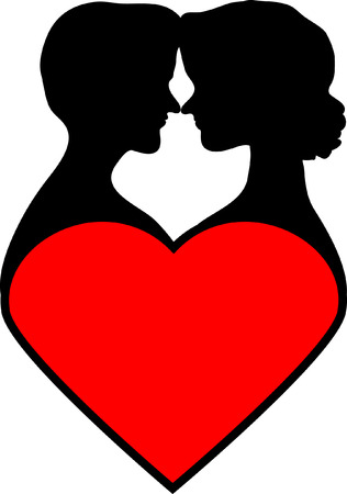 love icon: Silhouettes of loving couple on red heart