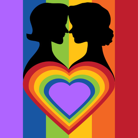 bisexual women: Silhouette couple women and LGBT heart. vector silhouette sign. Illustration