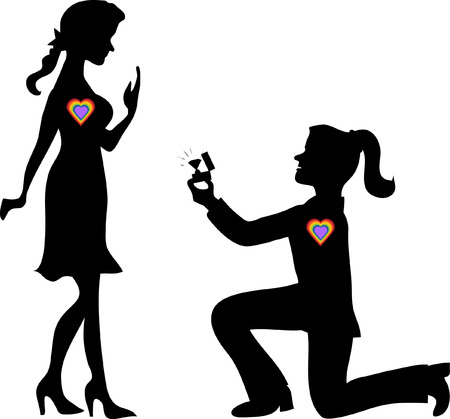 Silhouette woman stands on one knee and offers the  woman to marry her