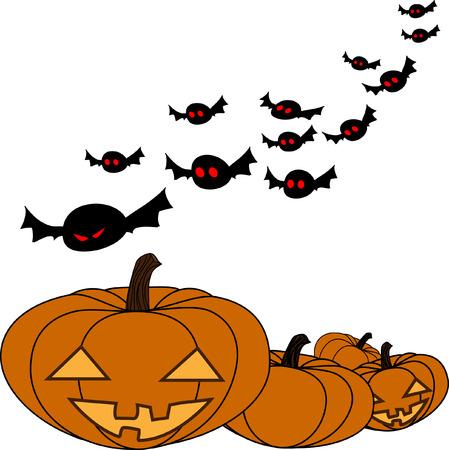 guile: Halloween white background with Jack O Lantern, illustration Illustration
