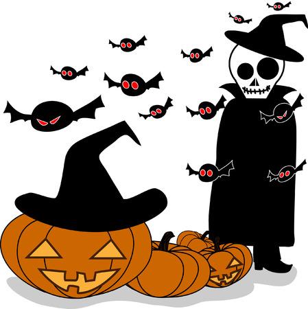 jack o   lantern: Vector illustration of skull and bat and Halloween Pumpkin Jack O Lantern isolated on white background. Halloween holidays concept.