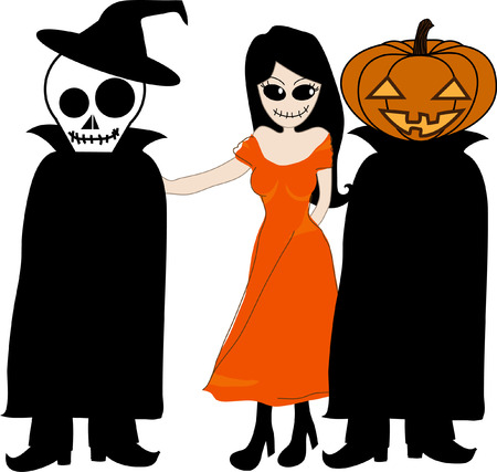 jack o: White Background with ghost woman, pumpkins  Jack O Lantern  and skull man