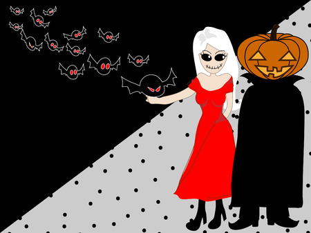black woman: black and gray Background with ghost woman, pumpkins  Jack O Lantern  and bat