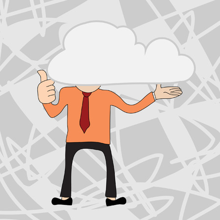 Young businessman with head in the clouds Ilustração