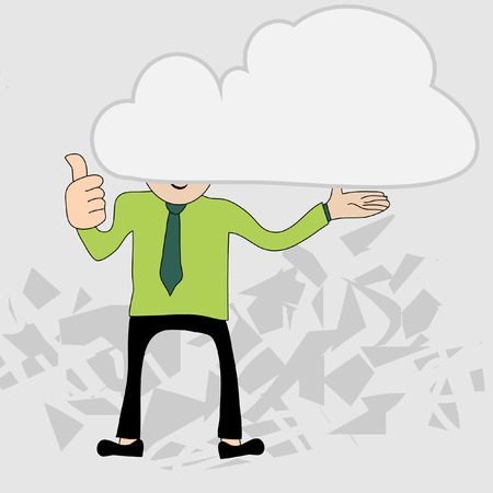 man standing alone: Young businessman with head in the clouds Illustration