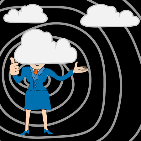 Young Businesswoman with head in the clouds