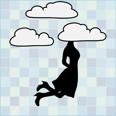Silhouette of girl with a white cloud on a head Ilustração