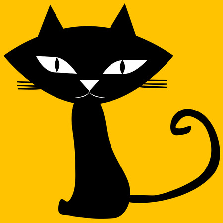 Black cat isolated on yellow background