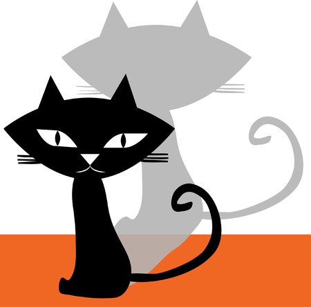 Black and shadow cat isolated on white background Illustration