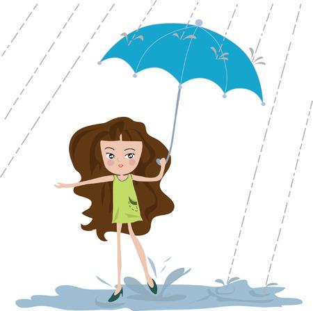 mujeres morenas: Muchacha con estilo joven de moda bajo el paraguas, caminar bajo la lluvia pesada, folleto hermoso o diseño de la plantilla para la temporada del monzón.