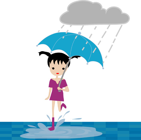 heavy rain: Stylish young fashionable girl under the umbrella, walking in the heavy rain, beautiful flyer or template design for Monsoon Season. Illustration