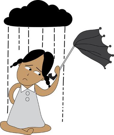 sotto la pioggia: donna sotto nuvole di pioggia