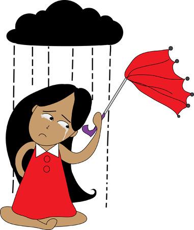 unlucky: Girl crying in the rain