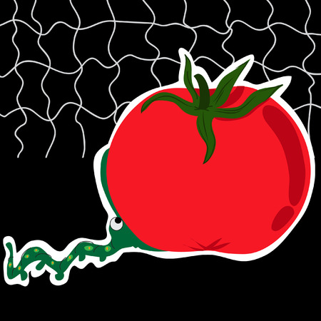 chew: An adorable worm attempting to chew the too big tomato. On a black background. Conceptual image about To bite off more than one can chew Illustration