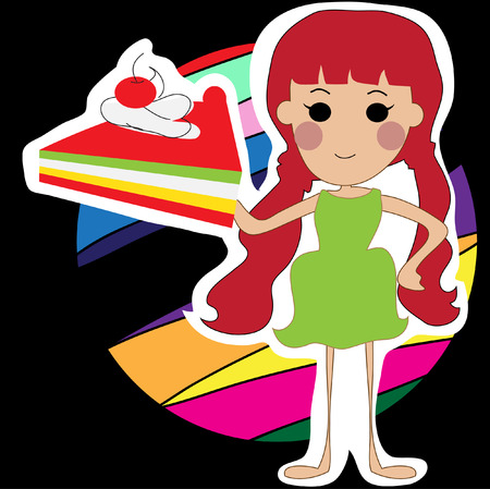 redhair: Young woman with a piece of cake , Concept Illustration of something very easy to do