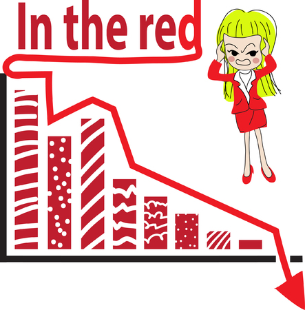 accountancy: Graph showing the falling value, Conceptual image about We are in the red. Illustration