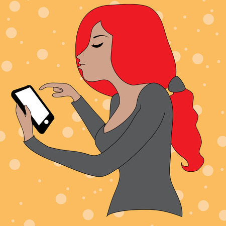 smart phone woman: Beautiful woman using and reading a smart phone isolated on orange background