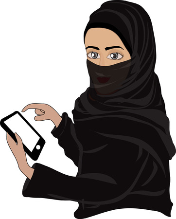 smart phone woman: Beautiful woman using and reading a smart phone isolated on a white background Illustration