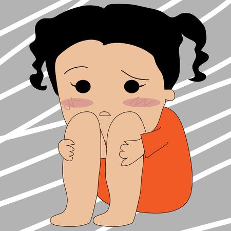 depressive: Sad girl with depression sitting on the floor Illustration