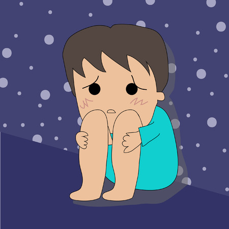 depressive: Sad boy with depression sitting on the floor
