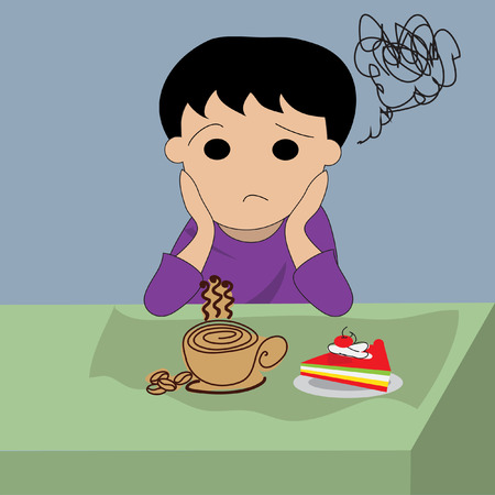 and depressed: Depressed man with coffee and cake Illustration