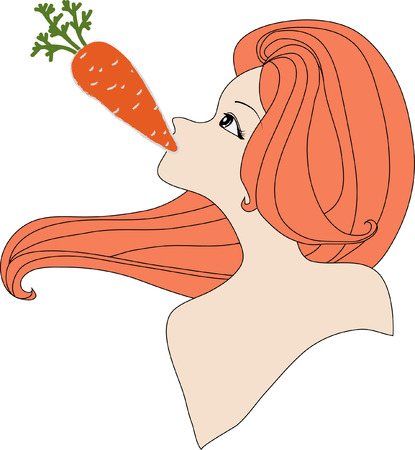 nude woman: Portrait of nude woman eating a carrot. Illustration