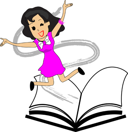 appeared: The woman appeared to jump off the page, white background. Illustration