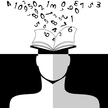 Back to School education human, head, book, numbers and letters.  Illustration