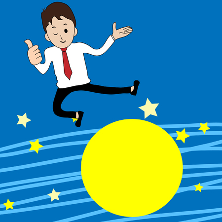 businessman jumping: Businessman jumping over the moon