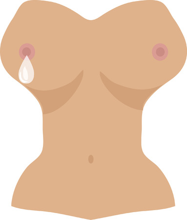 naked woman  white background: woman breast with maternal milk drop