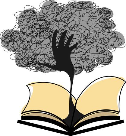 tree of knowledge: Concept of education and knowledge with tree on book pages Illustration