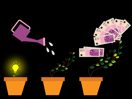 Concept seed, watering can, pound plant. Financial growth concept. Vector illustration
