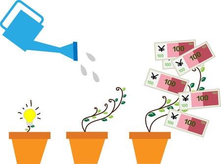 asian gardening: Financial growth concept. Three steps. Business. Vector illustration.