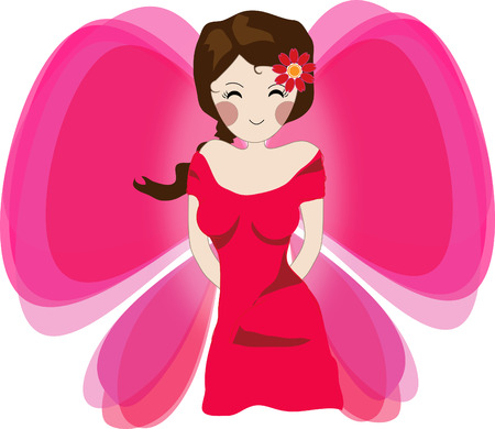 sexy young girls: Angel cartoon design elements vector