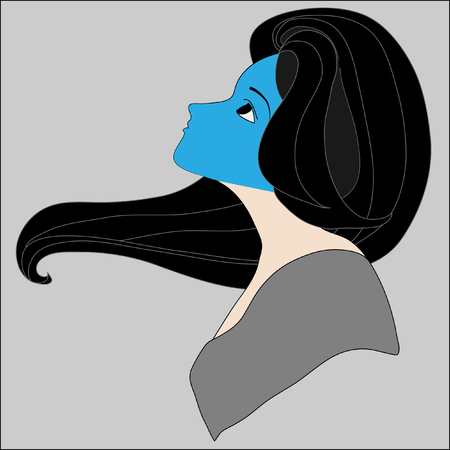 black hair blue eyes: blue in the face Illustration