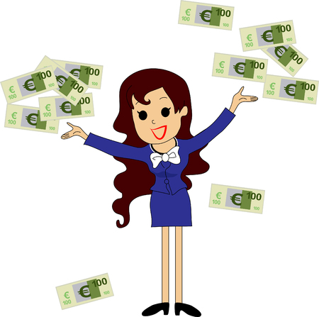 money rain: Excited woman under a money rain - isolated over a white background