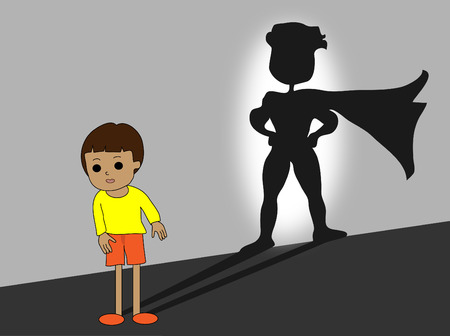 stronger: You are stronger than you think, big super hero shadow, vector illustration Illustration