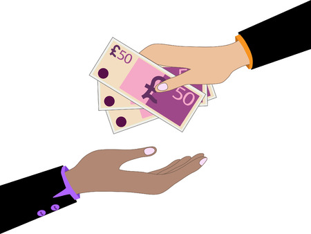 money pound: Vector cartoon of Hand, giving money pound to other hand