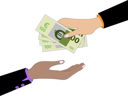 giving money: Vector cartoon of Hand, giving money euro to other hand