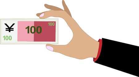 yuan: hand with 1 China 100 Yuan banknote