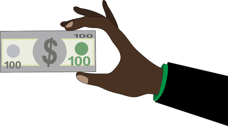 stated: Human hand holding United Stated of America Dollar USD banknote.