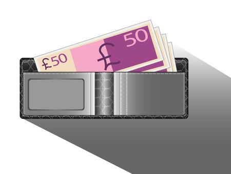 Black wallet with money pound