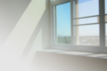 Sun light in window of blurred background space